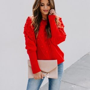 NWT Vici Park Avenue Pom Sweater - Red